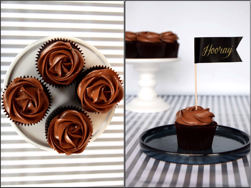 Devil's food cupcakes with a magnificent chocolate caramel frosting - recipe